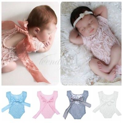 Newborn Baby Girl Infant Lace Romper Sunsuit Bodysuit Photography Props Silk Bow