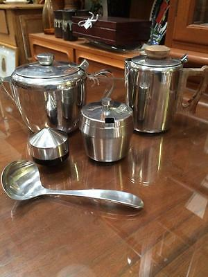 Vintage Retro X 5 Pc Lot  Stainless Steel Teapots Sugar Bowl Pepper Gravy Spoon