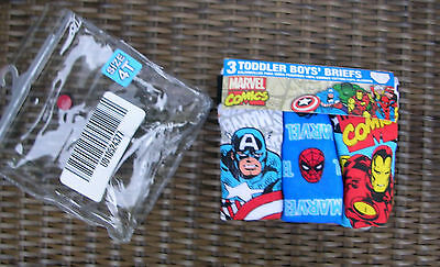 """MARVEL SUPERMAN, THE HULK, IRON MAN,""  Boys -3 Pr Pkg  BRIEFS SIZE 4T  NWT"