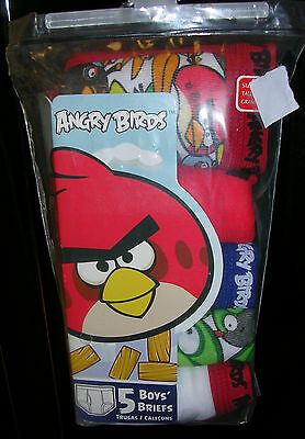 """angry Birds!"" Boy's  Briefs - Five Pair Pkg.  Size 8  Nwt  #ab83H"