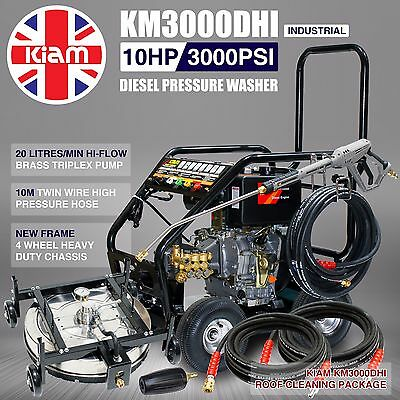 Kiam KM3000DHI Hi-Flow Diesel Washer Pressure Roof Cleaning Pack Tile Adjustable