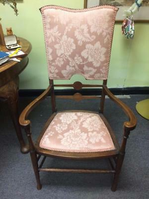 Antique Edwardian Wooden Mahogany Inlaid Pink Floral Upholstered Bedroom Chair