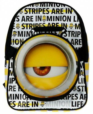 Despicable Me 3 STRIPES IN Minion BACKPACK with DETACHABLE Lunch Bag
