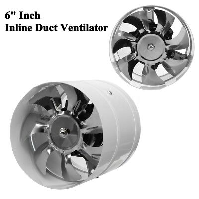 6'' Inch Inline Duct Booster Fan Ventilator Booster Exhaust Hydroponic Vent Air