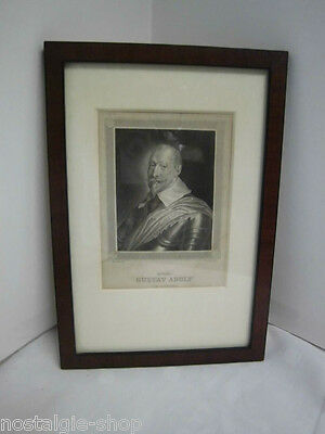 Gustav Adolf Von Sweden Old Print Portrait with Wood Frame Art Print Picture