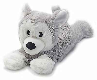Warmies Cozy Plush Laying Husky Fully Microwavable Soft Heatable Bed Time Warmer