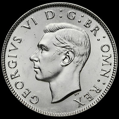 1944 George VI Silver Two Shilling Coin / Florin, A/UNC