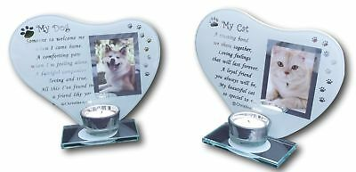 My Cat and Dog - Inspirational poem, candle & photo holder glass memorial plaque
