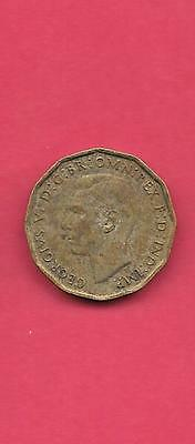 Great Britain Gb Uk Km849 1943 Vf-Very Fine-Nice Old Vintage 3 Pence Coin