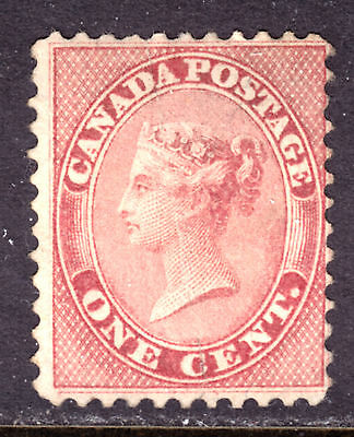 CANADA #14 1c ROSE, 1859 FIRST CENTS, VG, UNUSED