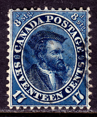 CANADA #19 17c BLUE, 1859 FIRST CENTS, VF, USED
