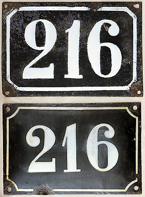 Large old black French house number 216 door gate wall street sign plate plaque