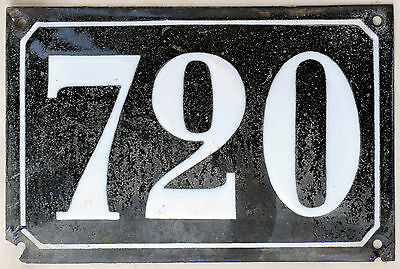 Large old black French house number 766 door gate plate plaque enamel metal sign