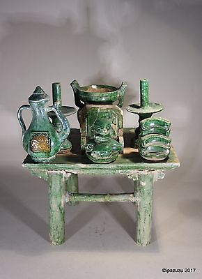 Antique Chinese Pottery Funerary Table & Offerings Ming Dynasty No:2