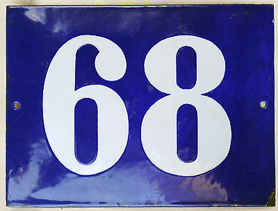 Big blue French house number 68 door gate plate plaque enamel steel metal sign