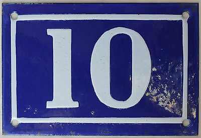 Old blue French house number 10 door gate plate plaque enamel steel sign c1950