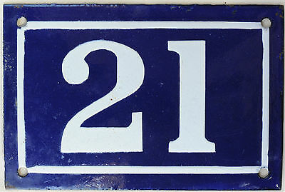 Old blue French house number 21 door gate plate plaque enamel steel sign c1950