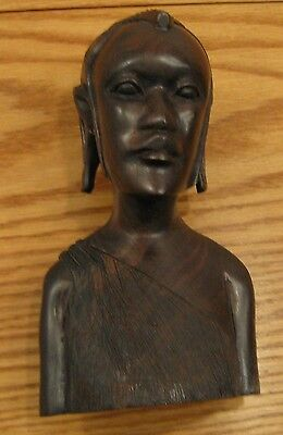 Vintage estate African ironwood carving Masai tribal ornate hairstyle earlobes 8