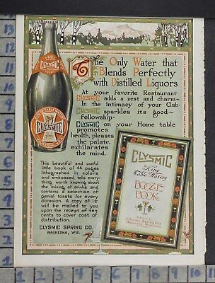 1913 Food Drink Mineral Water Clysmic Spring Co Waukesha Wi Vintage Ad Dq34