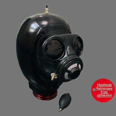 Latex Rubber Gum Studio Gas Mask inflatable Hood aufblasbar - custom-made - bl07