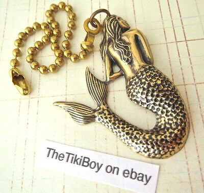 Victorian Mermaid Ceiling Fan Pull Chain Antiqued Brass Ball Chain Light Pull