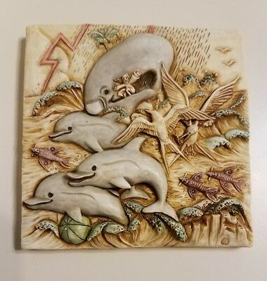 Harmony Kingdom Picturesque Noah's Park Dolphin Downs Magnetic Tile Signed
