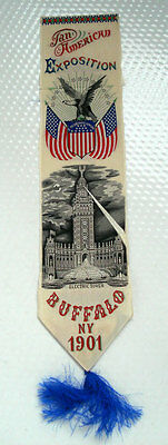 Pan Am Expo Silk Ribbon ~ 1901 Buffalo Ny ~ Electric Tower