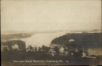 Harborside ME From Dyer's Mountain c1910 Real Photo Postcard