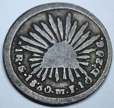 Mexico FIRST REPUBLIC 1 Real 1830 Antique Mexican Currency Coin Money One Reales