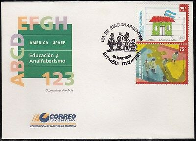 Upaep Argentina 2293/94 2002 Drawing of a niño SPD FDC About First Day