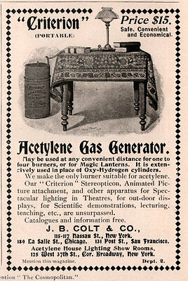 1898 Ad   Colt Co Criterion Acetylene Gas Generator Oxy Hydrogen