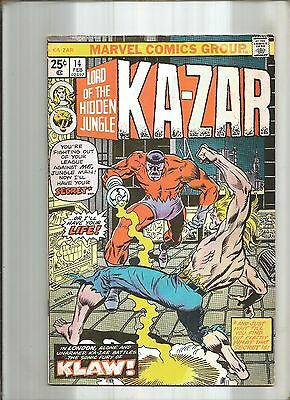 Ka-Zar Lord Of The Hidden Jungle #14  Klaw Marvel 1976  Nice!!!