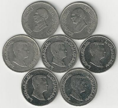 7 - 5 PIASTRE COINS from JORDAN (1993, 1998, 2000, 2006, 2008, 2009 & 2012)