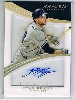 2015 Immaculate Collection Shadowbox Signatures Holo Gold #63 Ryan Braun #12/15