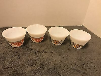 Indopal Custard Cups - set of 2- peach flower & grey band-  & 2 Peach/ Goose HTF