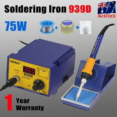 939D 75W Digital Display Soldering Iron Station 3 Tip Lead Welding Tool Kit UY