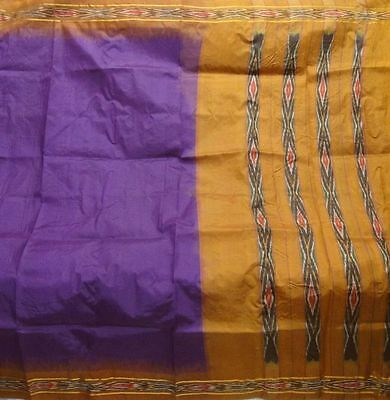 Antique Vintage Pure Silk Fabric Ikat Weaving Woven Sari Saree Free Shipping