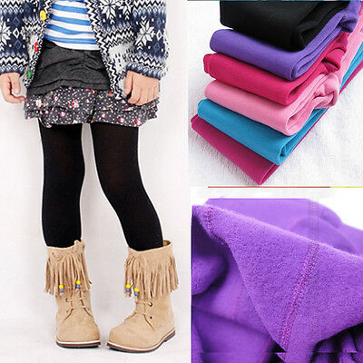 Candy Color Kids Girls Warm Winter Thick Velvet Leggings Lined Trousers Pants Be