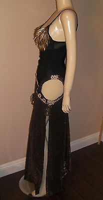 Beautiful Professional Hand- made Black & Gold 1pieces Belly Dance Costume Dress