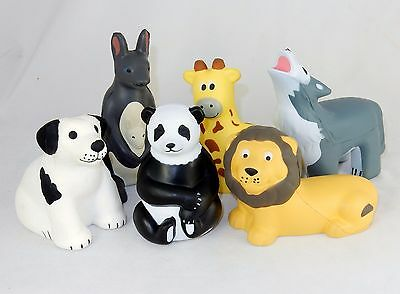 Lot of 6 Assorted Animal Shaped Stress Relief Squeezable Toys ~ FREE SHIPPING!