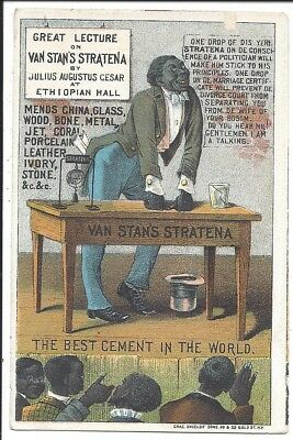Black Man delivers Lecture of Facts on Van Stans Stratena Glue, c1880s