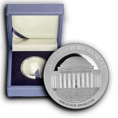 2015 Jefferson Memorial Monument NIUE 1 oz Proof Silver Coin With Box & COA