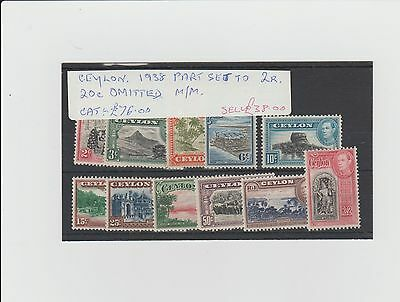 CEYLON. 1938 PART SET TO 2r. 20c OMITTED. MM.