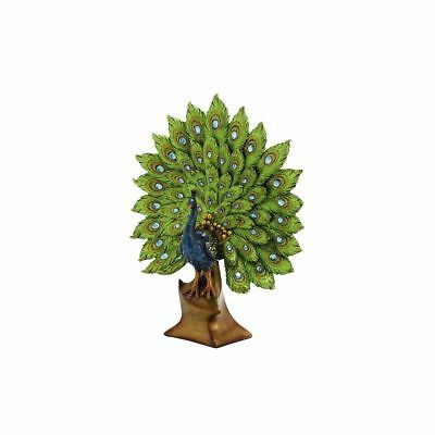 Blue and Green Resin Peacock Figurine