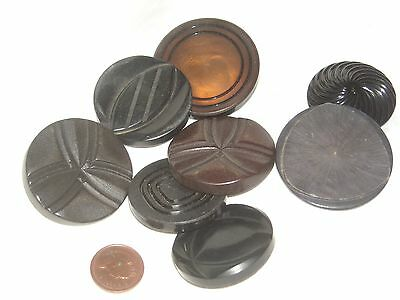 N76 Lot of 8 Mix Deco celluloid, early Big plastic Buttons