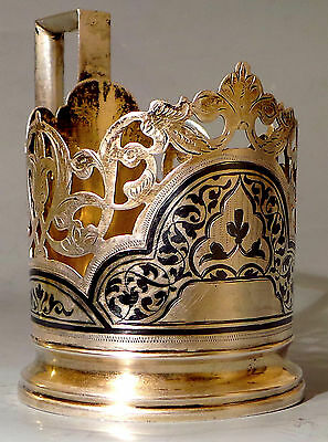 Antique Soviet Gilded solid Silver Stalin era glass holder 875 marked with star