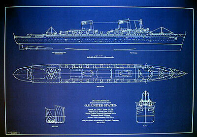 "United States Line SS United States 1950 Blueprint Plan 24""x33""  (105)"