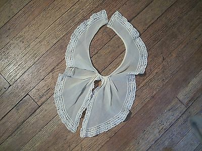 Antique Silk Crepe Collar Trimmed in Lace