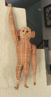 """Vintage Wicker Rattan Mid Century Hanging Monkey.....too Cool To Hang Around 17"""""""