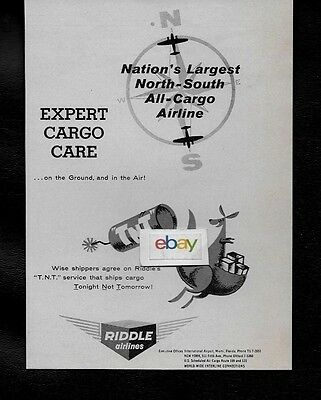 """Riddle Airlines Of Miami Tnt Service """"today Not Tomorrow"""" Expert Cargo Care Ad"""